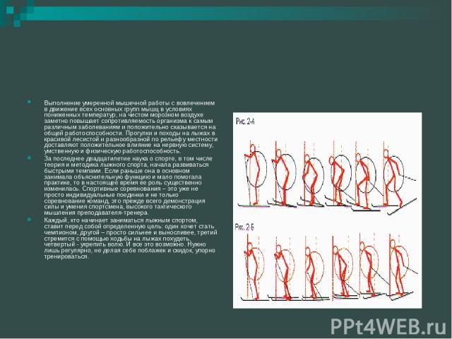 Выполнение умеренной мышечной работы с вовлечением в движение всех основных групп мышц в условиях пониженных температур, на чистом морозном воздухе заметно повышает сопротивляемость организма к самым различным заболеваниям и положительно сказывается…