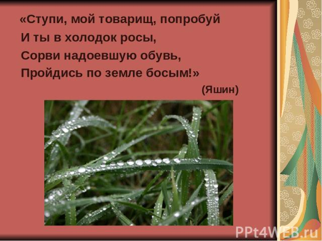 «Ступи, мой товарищ, попробуй И ты в холодок росы, Сорви надоевшую обувь, Пройдись по земле босым!» (Яшин)