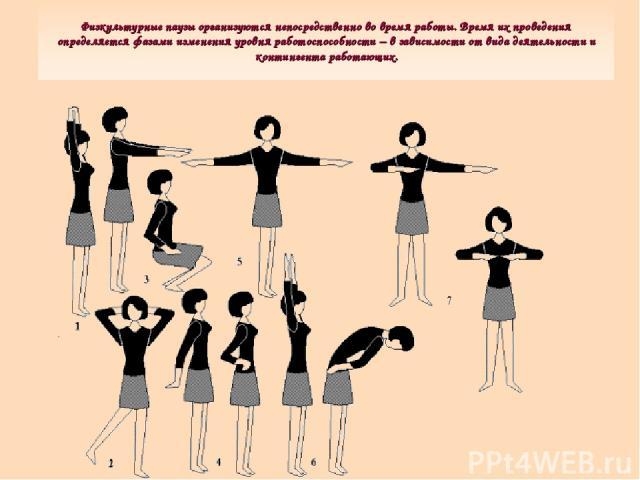 Физкультурные паузы организуются непосредственно во время работы. Время их проведения определяется фазами изменения уровня работоспособности – в зависимости от вида деятельности и контингента работающих.