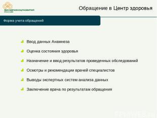 Обращение в Центр здоровья Форма учета обращений Ввод данных Анамнеза Оценка сос