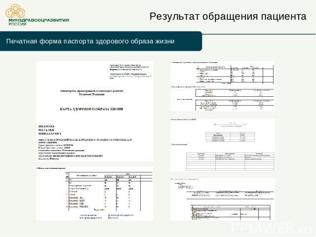 Результат обращения пациента Печатная форма паспорта здорового образа жизни
