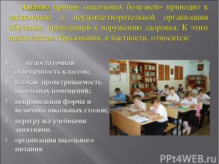 недостаточная освещённость классов; плохая проветриваемость школьных помещений