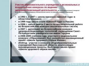 Участие образовательного учреждения в региональных и всероссийских конкурсах по