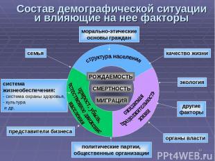 * система жизнеобеспечения: - система охраны здоровья, культура и др. Состав дем
