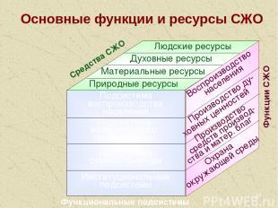 * Основные функции и ресурсы СЖО Подсистема воспроизводства населения Подсистема