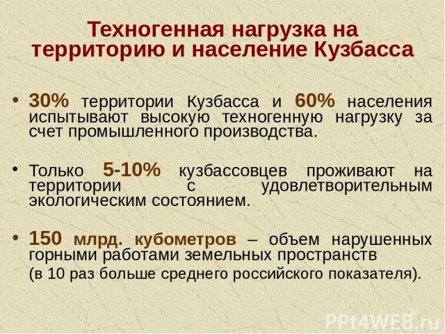 * Техногенная нагрузка на территорию и население Кузбасса 30% территории Кузбасса и 60% населения испытывают высокую техногенную нагрузку за счет промышленного производства. Только 5-10% кузбассовцев проживают на территории с удовлетворительным экол…
