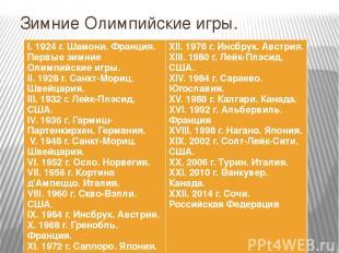 Зимние Олимпийские игры. I. 1924 г.Шамони. Франция. Первые зимние Олимпийские иг