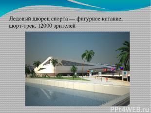Ледовый дворец спорта— фигурное катание, шорт-трек, 12000 зрителей