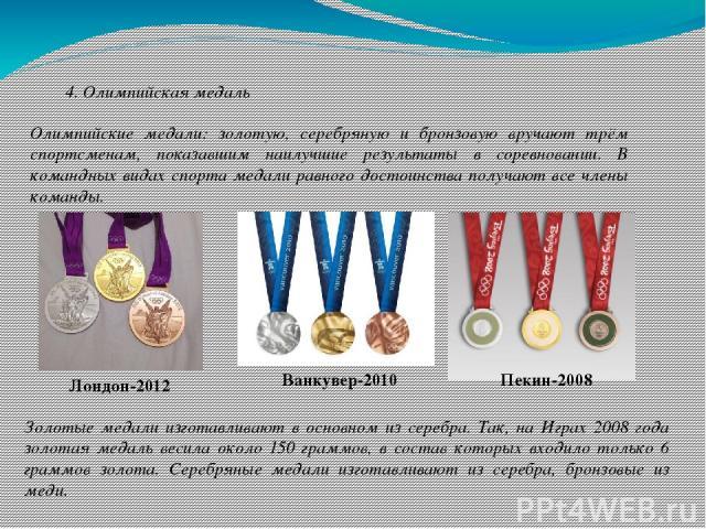 4. Олимпийская медаль Олимпийские медали: золотую, серебряную и бронзовую вручают трём спортсменам, показавшим наилучшие результаты в соревновании. В командных видах спорта медали равного достоинства получают все члены команды. Лондон-2012 Ванкувер-…