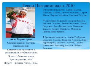 Герои Паралимпиады-2010 Анна Бурмистрова Специализация : биатлон, лыжные гонки.