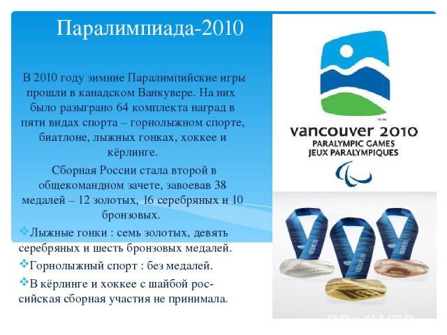 Паралимпиада-2010 В 2010 году зимние Паралимпийские игры прошли в канадском Ванкувере. На них было разыграно 64 комплекта наград в пяти видах спорта – горнолыжном спорте, биатлоне, лыжных гонках, хоккее и кёрлинге. Сборная России стала второй в обще…