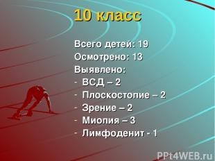 10 класс Всего детей: 19 Осмотрено: 13 Выявлено: ВСД – 2 Плоскостопие – 2 Зрение