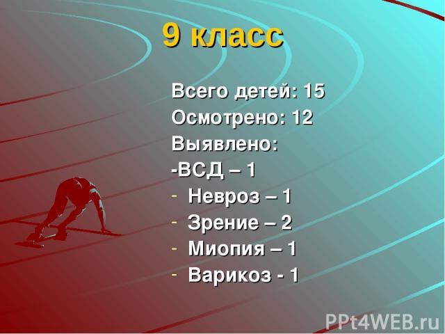 9 класс Всего детей: 15 Осмотрено: 12 Выявлено: -ВСД – 1 Невроз – 1 Зрение – 2 Миопия – 1 Варикоз - 1