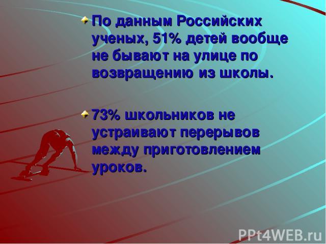 По данным Российских ученых, 51% детей вообще не бывают на улице по возвращению из школы. 73% школьников не устраивают перерывов между приготовлением уроков.