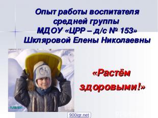 Опыт работы воспитателя средней группы МДОУ «ЦРР – д/с № 153» Шкляровой Елены Ни