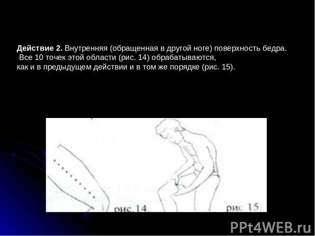 Действие 2. Внутренняя (обращенная в другой ноге) поверхность бедра. Все 10 точек этой области (рис.14) обрабатываются, как и в предыдущем действии и в том же порядке (рис.15).