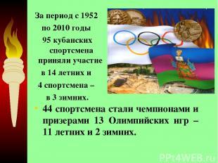 44 спортсмена стали чемпионами и призерами 13 Олимпийских игр – 11 летних и 2 зи