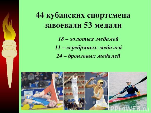 44 кубанских спортсмена завоевали 53 медали 18 – золотых медалей 11 – серебряных медалей 24 – бронзовых медалей