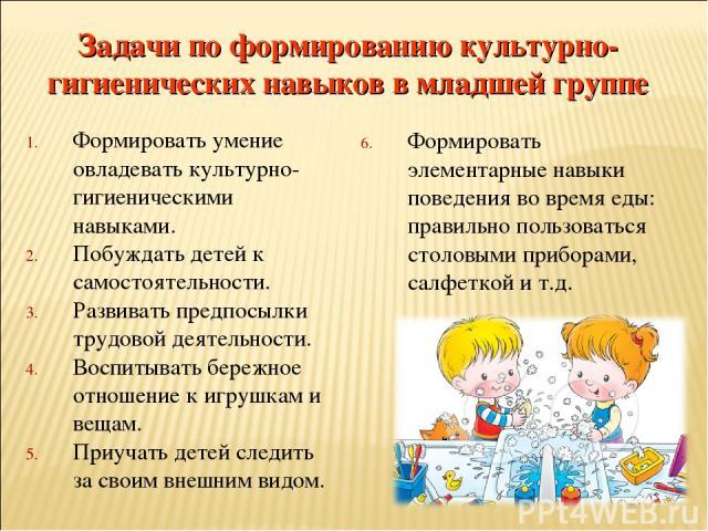 Формировать умение овладевать культурно-гигиеническими навыками. Побуждать детей к самостоятельности. Развивать предпосылки трудовой деятельности. Воспитывать бережное отношение к игрушкам и вещам. Приучать детей следить за своим внешним видом. Форм…