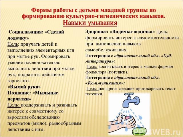 Социализация: «Сделай лодочку» Цель: приучать детей к выполнению элементарных кгн при мытье рук. Формировать умение последовательно выполнять действия при мытье рук, подражать действиям взрослого. «Вымой руки» Познание: «Мыльные перчатки» Цель: подд…