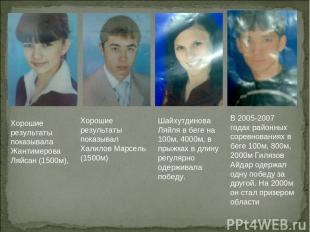В 2005-2007 годах районных соревнованиях в беге 100м, 800м, 2000м Гилязов Айдар