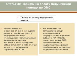 Статья 30. Тарифы на оплату медицинской помощи по ОМС Тарифы на оплату медицинск