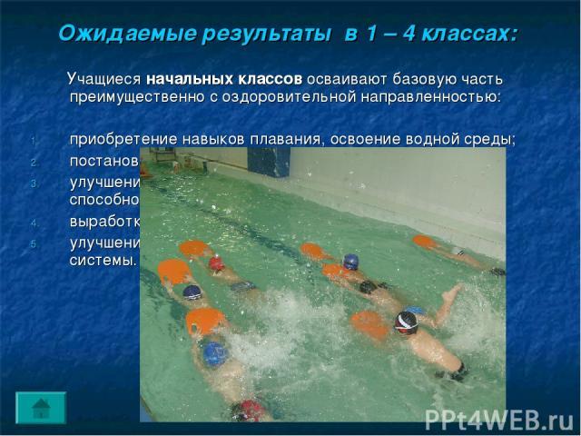 Ожидаемые результаты в 1 – 4 классах: Учащиеся начальных классов осваивают базовую часть преимущественно с оздоровительной направленностью: приобретение навыков плавания, освоение водной среды; постановка правильного дыхания в воде; улучшение коорди…