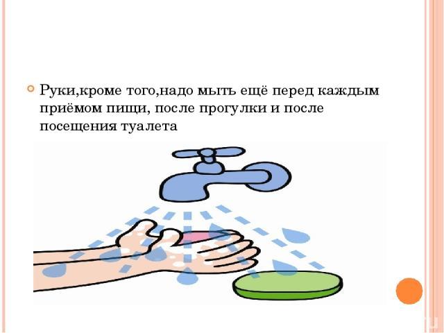 Руки,кроме того,надо мыть ещё перед каждым приёмом пищи, после прогулки и после посещения туалета
