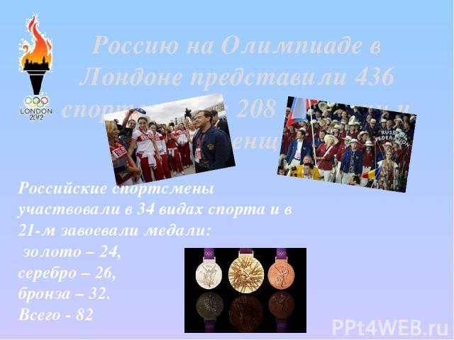 Россию на Олимпиаде в Лондоне представили 436 спортсменов: 208 мужчин и 228 женщин. Российские спортсмены участвовали в 34 видах спорта и в 21-м завоевали медали: золото – 24, серебро – 26, бронза – 32. Всего - 82