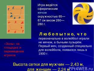 Игра ведётся сферическим мячом окружностью 65—67 см весом 260—280 г. Высота сетк