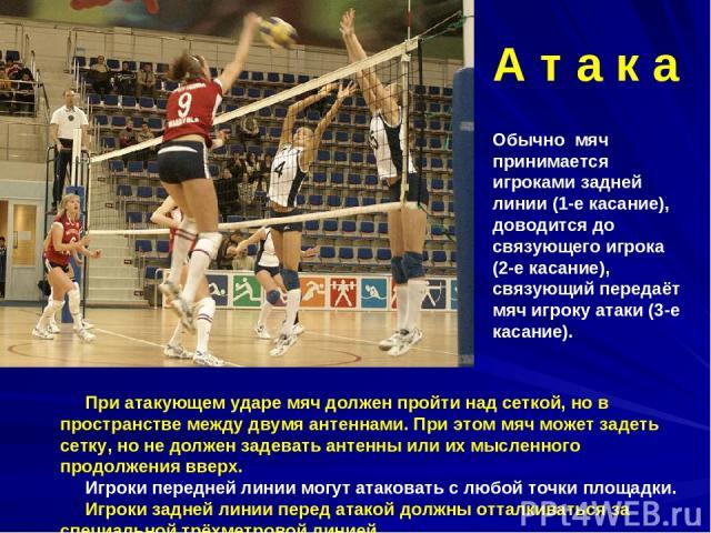 При атакующем ударе мяч должен пройти над сеткой, но в пространстве между двумя антеннами. При этом мяч может задеть сетку, но не должен задевать антенны или их мысленного продолжения вверх. Игроки передней линии могут атаковать с любой точки площад…