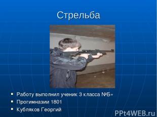 Стрельба Работу выполнил ученик 3 класса №Б» Прогимназии 1801 Кубляков Георгий