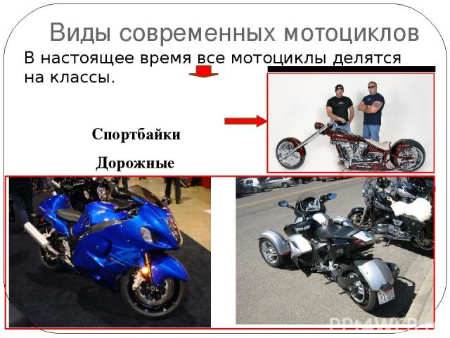 Виды современных мотоциклов В настоящее время все мотоциклы делятся на классы. Спортбайки Дорожные Чопперы Эндуро Кроссовые