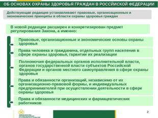 * ОБ ОСНОВАХ ОХРАНЫ ЗДОРОВЬЯ ГРАЖДАН В РОССЙИСКОЙ ФЕДЕРАЦИИ В новой редакции рас
