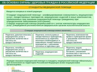 * СТАНДАРТЫ МЕДИЦИНСКОЙ ПОМОЩИ Стандарт медицинской помощи - унифицированная сов