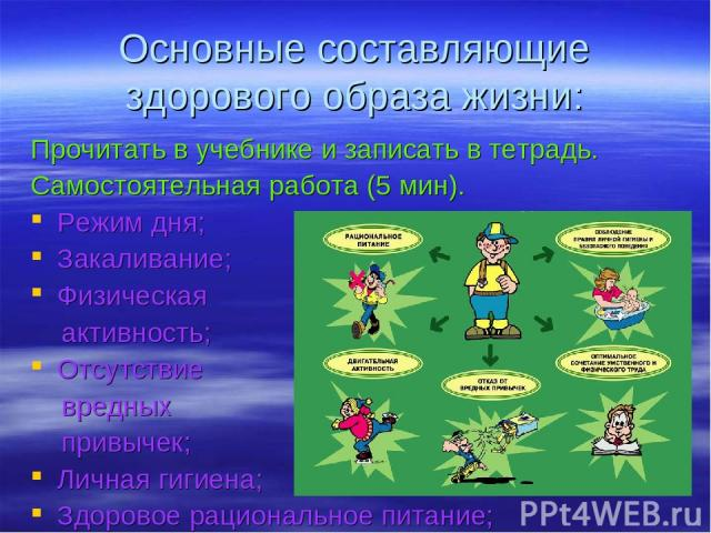 Основные составляющие здорового образа жизни: Прочитать в учебнике и записать в тетрадь. Самостоятельная работа (5 мин). Режим дня; Закаливание; Физическая активность; Отсутствие вредных привычек; Личная гигиена; Здоровое рациональное питание;