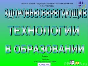 МОУ «Средняя общеобразовательная школа №5 имени Л. Н. Гумилева» Бежецк 2008 год