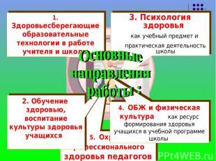 5. Охрана профессионального здоровья педагогов 1. Здоровьесберегающие образовате