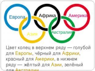 Цвет колец в верхнем ряду— голубой для Европы, чёрный для Африки, красный для А