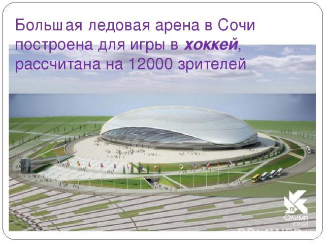 Большая ледовая арена в Сочи построена для игры в хоккей, рассчитана на 12000 зрителей