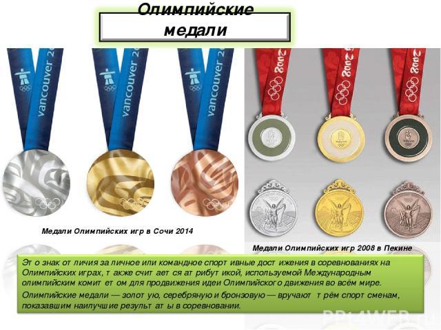 Медали Олимпийских игр 2008 в Пекине Медали Олимпийских игр в Сочи 2014