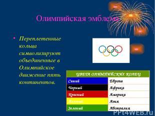 Олимпийская эмблема Переплетенные кольца символизируют объединенные в Олимпийско