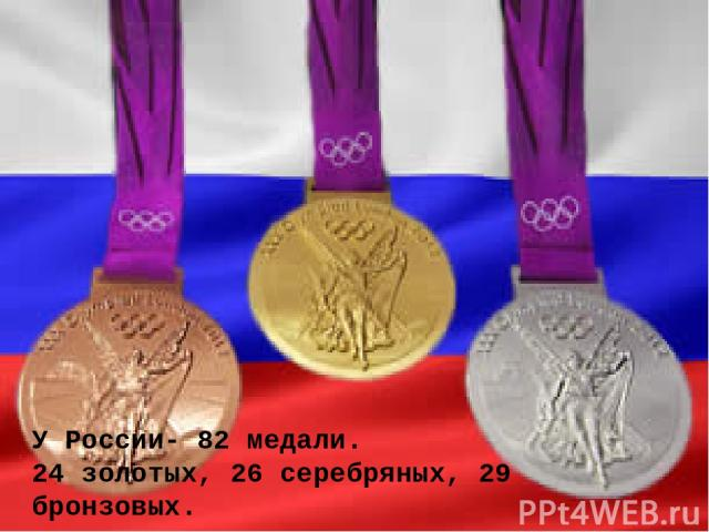 У России- 82 медали. 24 золотых, 26 серебряных, 29 бронзовых.