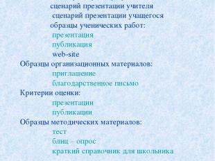 Содержание проекта Данный проект содержит: визитную карточку проекта; сценарий п