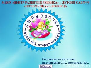 Составили воспитатели: Бахуринская С.Г., Волобуева Т.А. МДОУ «ЦЕНТР РАЗВИТИЯ РЕБ