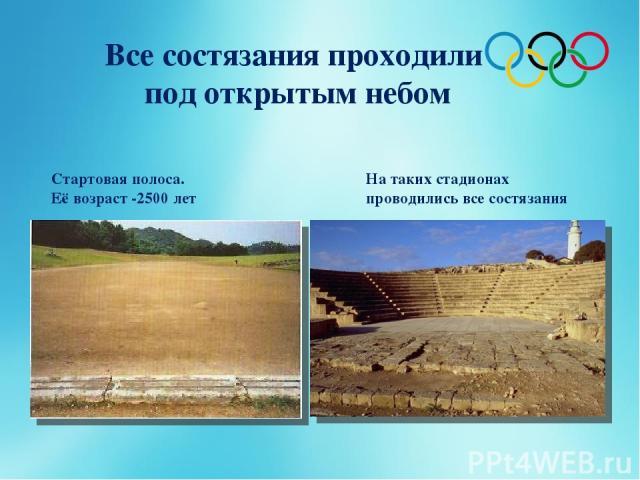Все состязания проходили под открытым небом Стартовая полоса. Её возраст -2500 лет На таких стадионах проводились все состязания