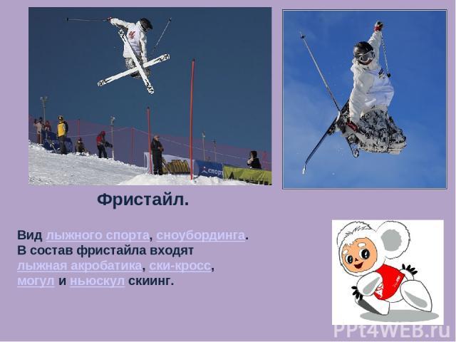 Фристайл. Вид лыжного спорта, сноубординга. В состав фристайла входят лыжная акробатика, ски-кросс, могул и ньюскул скиинг.