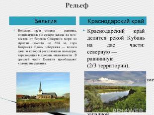 Рельеф Бельгия Краснодарский край Большая часть страны — равнина, повышающаяся с