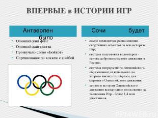 ВПЕРВЫЕ в ИСТОРИИ ИГР Антверпен было Сочи будет Олимпийский флаг Олимпийская кля