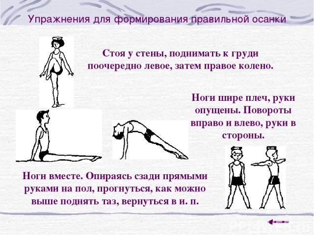 Упражнения для формирования правильной осанки Стоя у стены, поднимать к груди поочередно левое, затем правое колено. Ноги шире плеч, руки опущены. Повороты вправо и влево, руки в стороны. Ноги вместе. Опираясь сзади прямыми руками на пол, прогнуться…